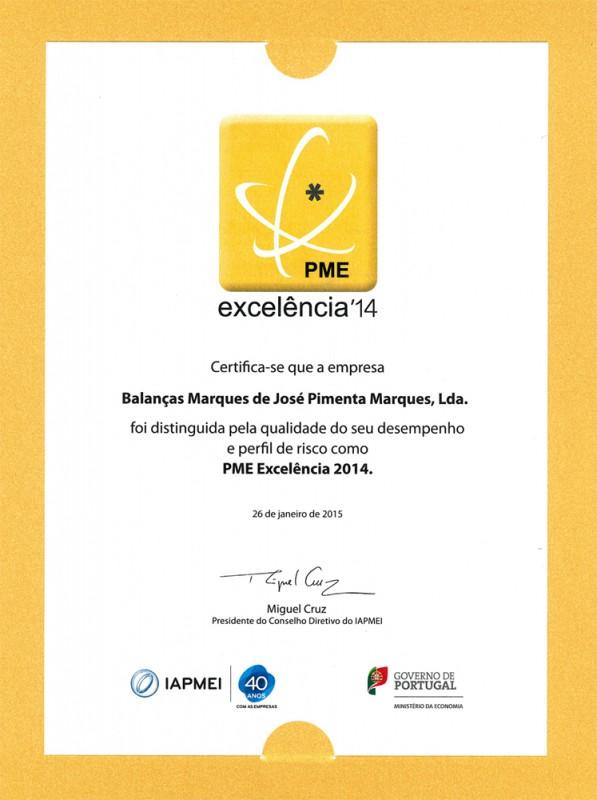 Balanças Marques distinguida com o Estatuto PME Excelência 2014
