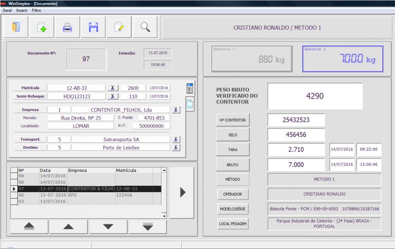 Software de pesagem da Balanças Marques adaptado às novas regras de pesagem da Convenção SOLAS