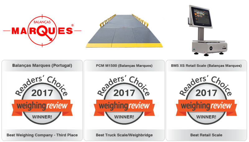 Balanças Marques premiada nos Weighing Review Awards 2017!
